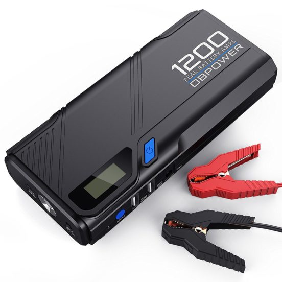 DBPOWER 1200A Peak Portable Car Jump Starter (for 6.5L Gas, 5.2L Diesel Engine and more), Car Battery Booster Pack & Charger, Power Bank Phone Charger with QC3.0 Built-in LED Emergency Flashlight