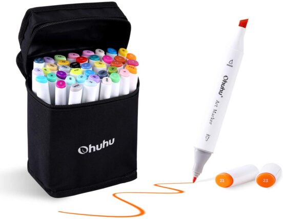 Ohuhu 40-Color Alcohol Marker, Dual Tips