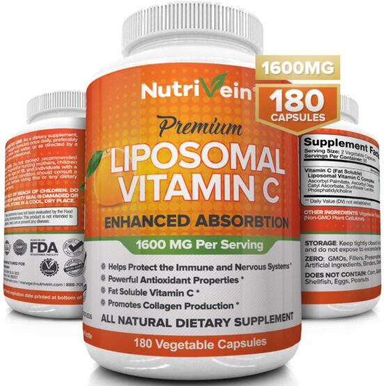 Nutrivein Liposomal Vitamin C 1600mg - 180 Capsules - High Absorption Ascorbic Acid - Supports Immune System and Collagen Booster - Powerful Antioxidant High Dose Fat Soluble Supplement - Lypo Spheric