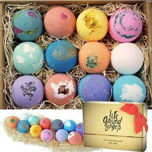 Bath Bombs Gift Set 12 USA made Fizzies, Shea & Coco Butter Dry Skin Moisturize, Perfect for Bubble & Spa Bath. Handmade Birthday Gift idea For Her/Him, wife, girlfriend, men, women