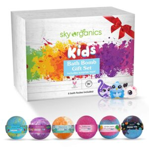 Kids Bath Bombs Gift Set with Surprise Toys, 6x5oz Fun Assorted Colored XL Bath Fizzies, Kid Safe, Gender Neutral with Natural Essential Oils -Handmade in The USA Bubble Bath Fizzy