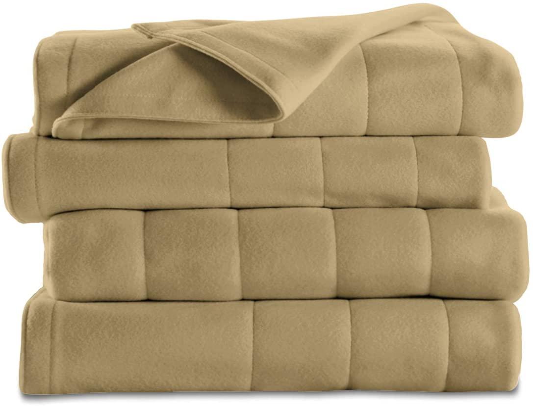 Sunbeam Heated Blanket   10 Heat Settings, Quilted Fleece, Acorn, Twin