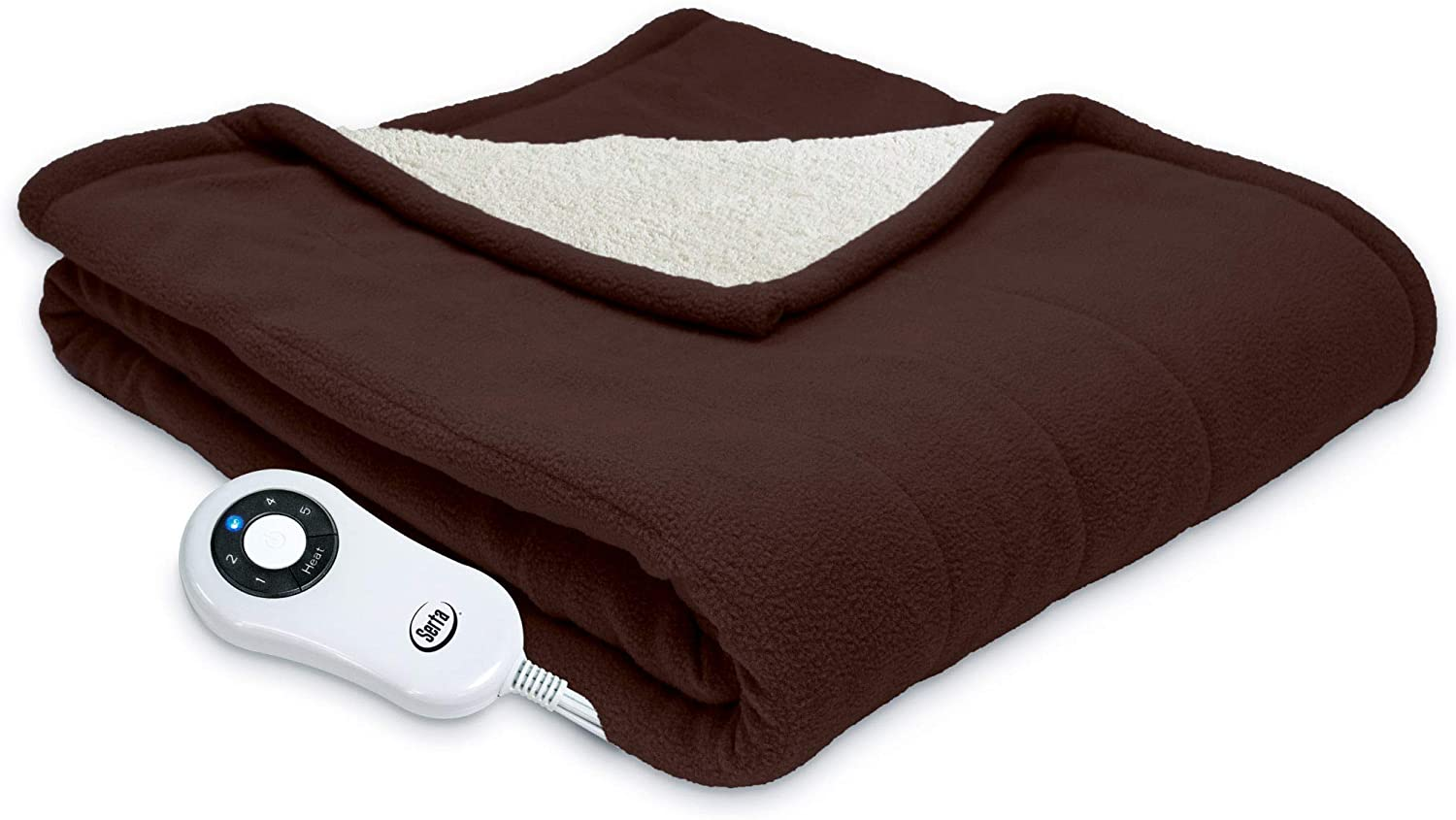 "Serta | Reversible Sherpa/Fleece Heated Electric Throw Blanket, 50""x60"" With 5 Setting Controller, Chocolate"