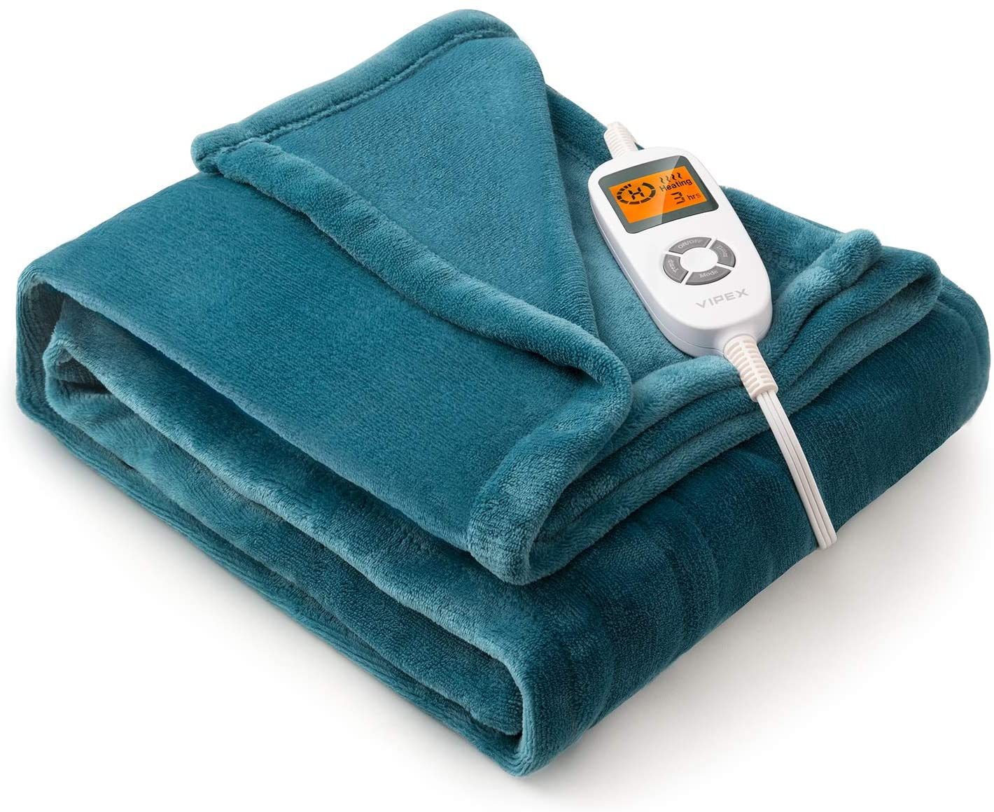 """VIPEX Heated Blanket Electric Throw, 50"""" x 60"""" Flannel Electric Blanket with 10 Heating Levels & 3 Timer Settings Auto-Off, Travel Home..."""