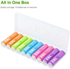 EBL Rechargeable Batteries AA Size (10 Pack - 5 Colors in One Box) Pre-Charged 1.2V 2500mAh NiMH Double A Battery