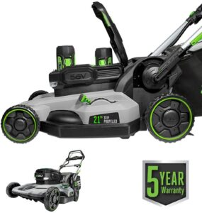 EGO Power+ LM2142SP 21-Inch 56-Volt Lithium-Ion Cordless Electric Dual-Port Walk Behind Self Propelled Lawn Mower with Two 5.0 Ah Batteries & Charger...