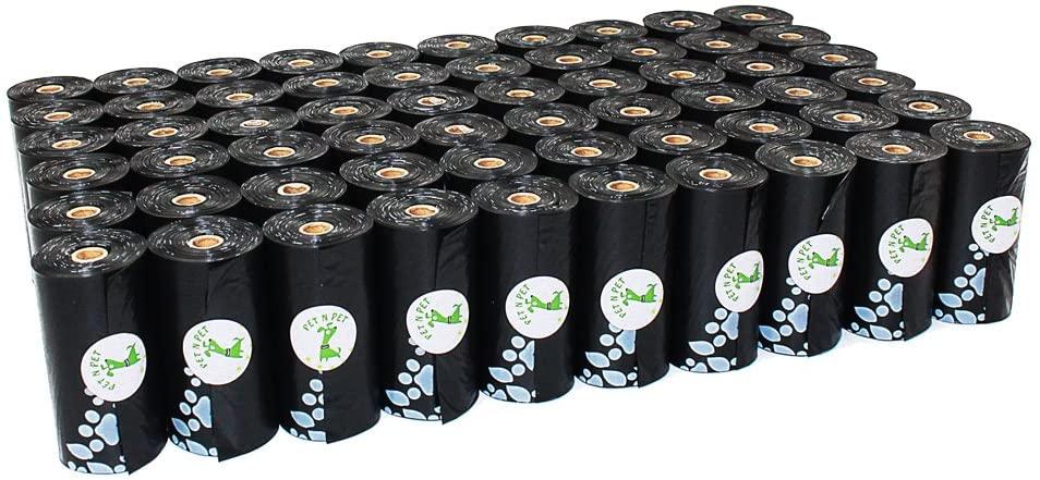 PET N PET Dog Poop Bags Large Dog Waste Bags Earth-Friendly Poop Bags for Dog 1080 Counts Dog Poop Bag Unscented Doggie Bags Black Color