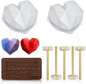Chocolate Heart Mold, Silicone Molds for Baking Diamond Heart Shaped Cake Mold Trays with 5 Pieces Wooden Hammers Non-Sticky Dessert Cookie Mould Suitable.