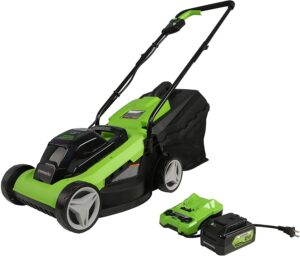 Greenworks 24V 13 inch Lawn Mower, 4Ah USB Battery and Charger Included