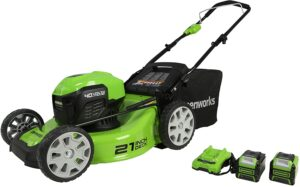 Greenworks 40V 21 inch Brushless Lawn Mower, 4Ah and 2Ah USB Batteries and Charger Included MO40L4210