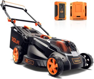 TACKLIFE Cordless Lawn Mower, 16 Inch Brushless Lawn Mower, 50L Grass Box & Mulch Plug, 40V Max 4.0Ah Battery, 6 Mowing Heights, 3 Operation Heights,.