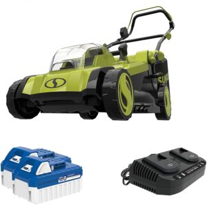 Sun Joe 24V-X2-17LM 48-Volt 17-Inch Mulching Walk-Behind Lawn Mower w/Grass Catcher, Kit (w/ 2X 4.0-Ah Battery and Charger)
