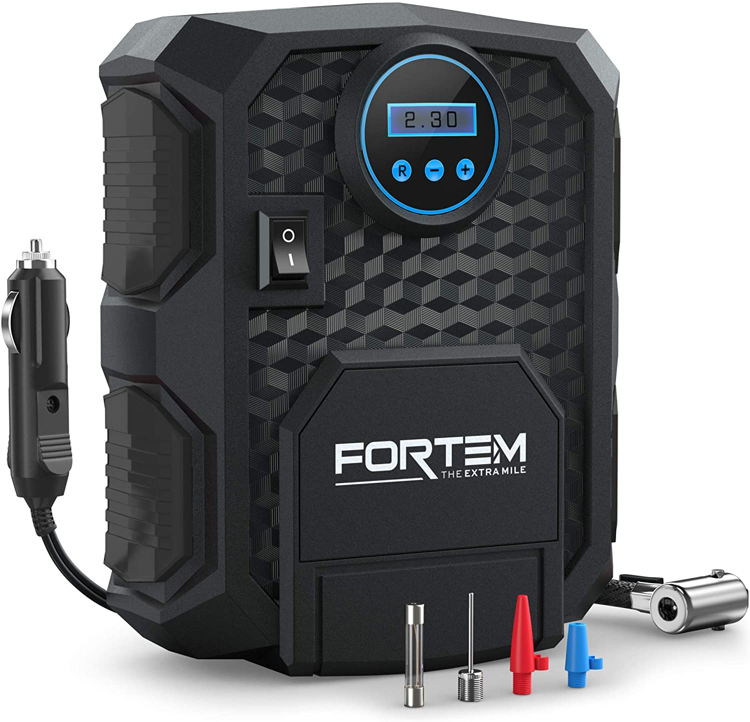 FORTEM Digital Tire Inflator for Car w/Auto Pump/Shut Off Feature, Portable Air Compressor, Carrying Case (Black)